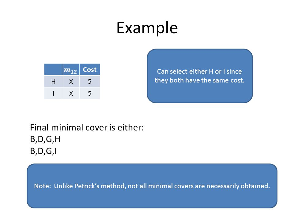 Example Cost HX5 IX5 Can select either H or I since they both have the same cost.