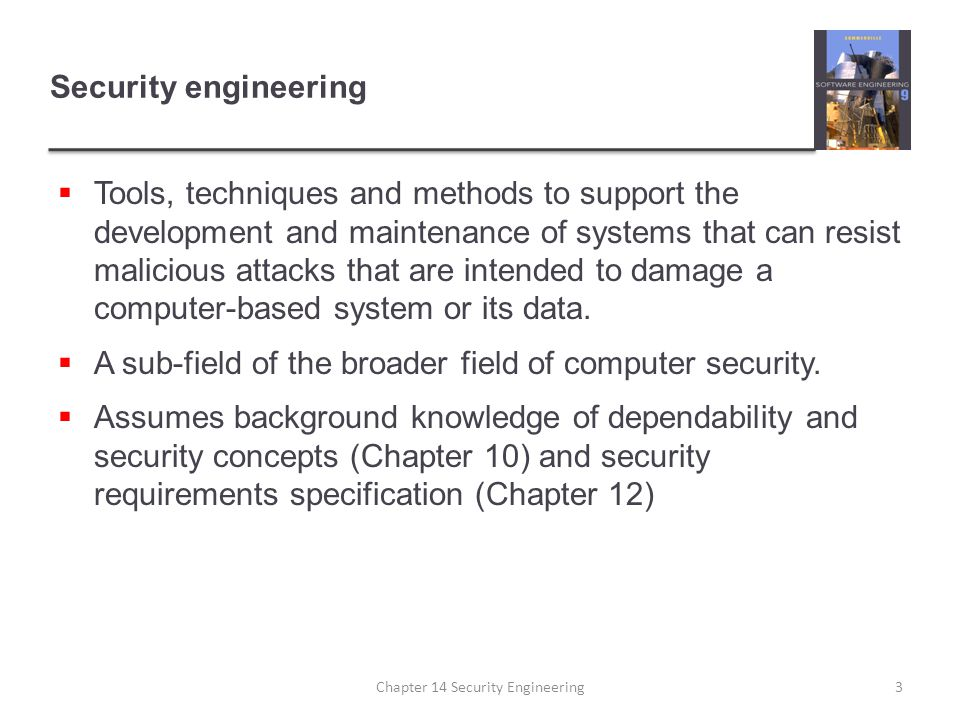 Trading system survivability  User accounts and equity prices replicated across servers so some provision for survivability made  Key capability to be maintained is the ability to place orders for stock  Orders must be accurate and reflect the actual sales/purchases made by a trader Chapter 14 Security Engineering44