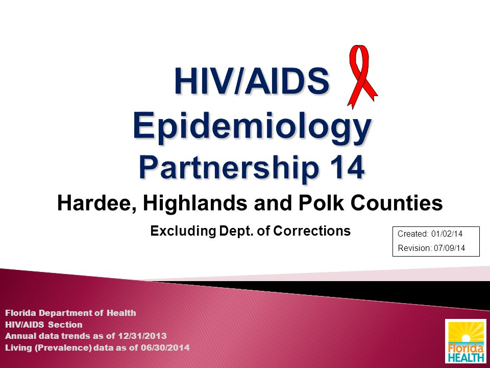 Hardee, Highlands and Polk Counties Excluding Dept. of Corrections Florida Department of Health HIV/AIDS Section Annual data trends as of 12/31/2013 L