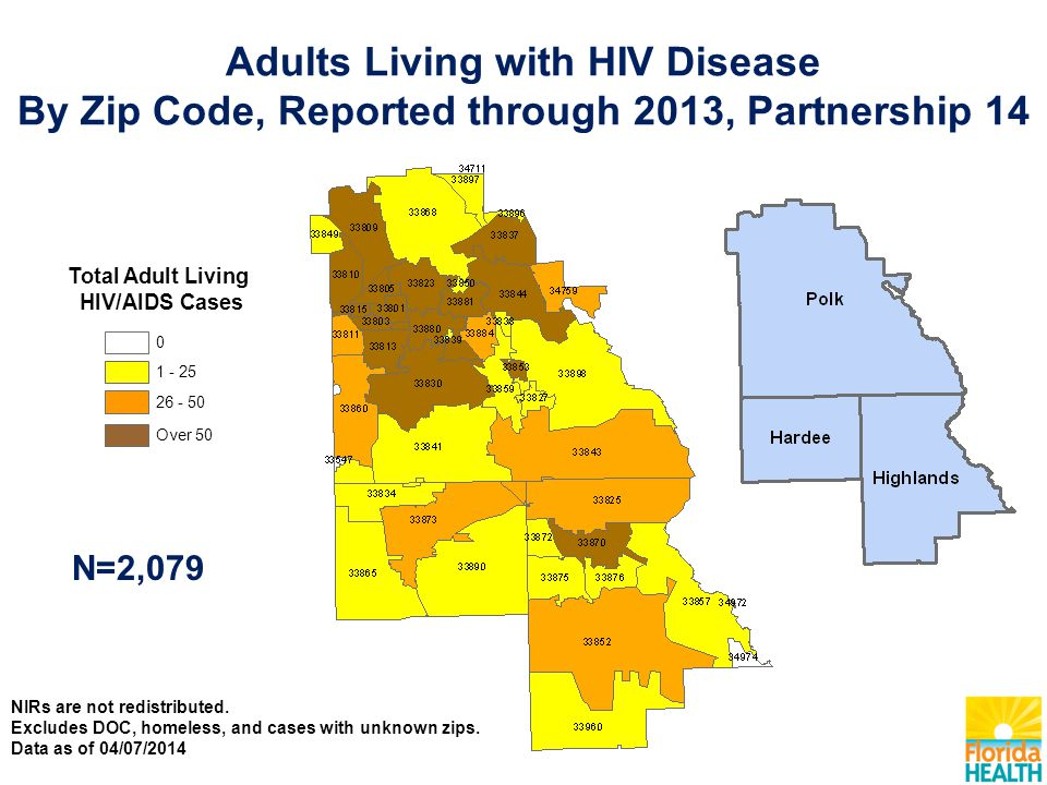 Total Adult Living HIV/AIDS Cases Over 50 26 - 50 1 - 25 0 N=2,079 Adults Living with HIV Disease By Zip Code, Reported through 2013, Partnership 14 N