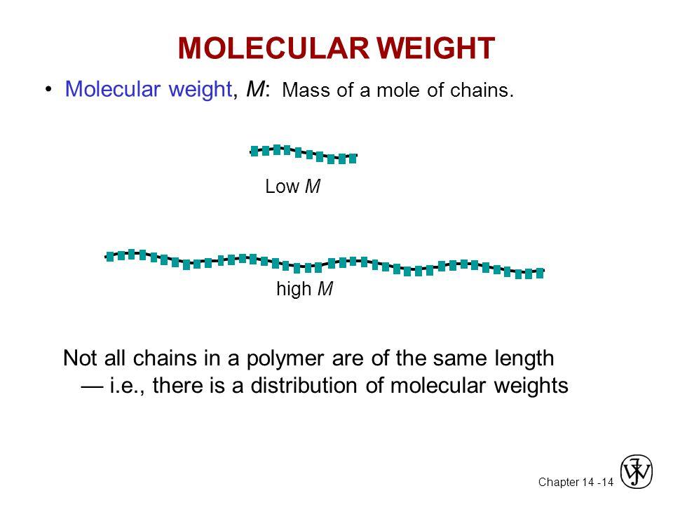 Chapter 14 - 14 MOLECULAR WEIGHT Molecular weight, M: Mass of a mole of chains.