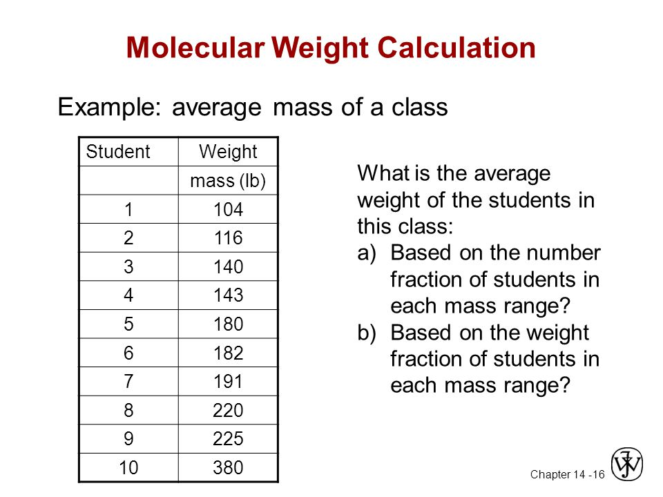 Chapter 14 - 16 Molecular Weight Calculation Example: average mass of a class StudentWeight mass (lb) 1104 2116 3140 4143 5180 6182 7191 8220 9225 10380 What is the average weight of the students in this class: a)Based on the number fraction of students in each mass range.