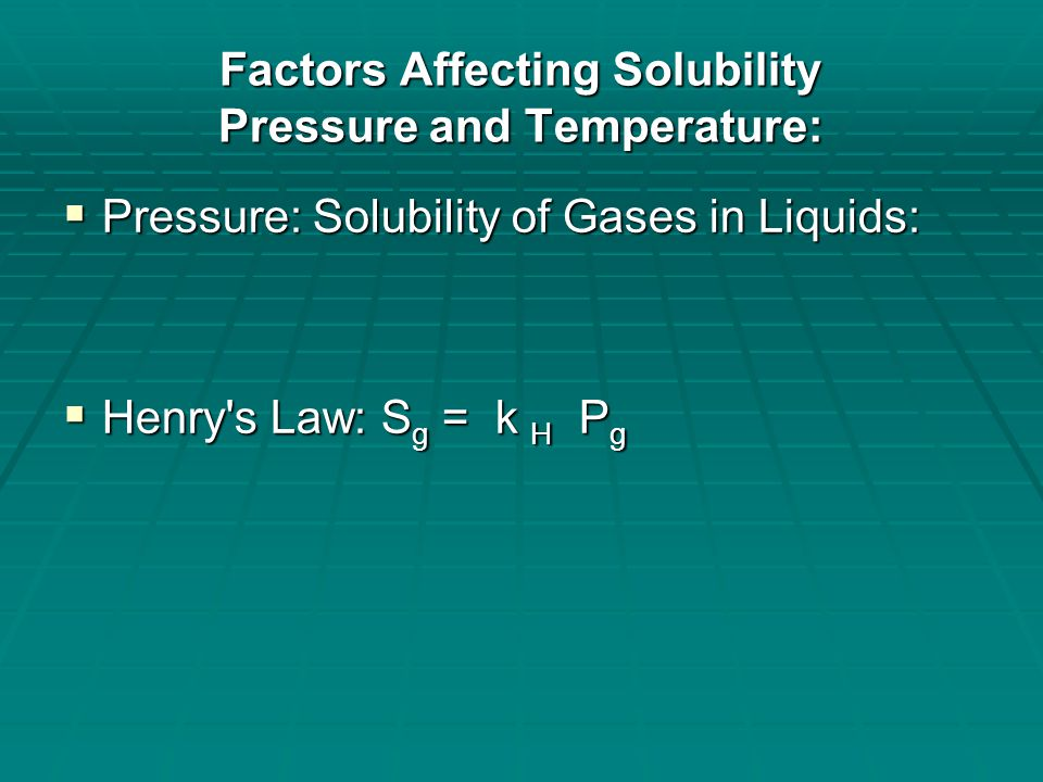 Factors Affecting Solubility Pressure and Temperature:  Gases dissolved in water demonstration  Bromothymol Blue solution and Alka-Seltzer in 200 mL DI water