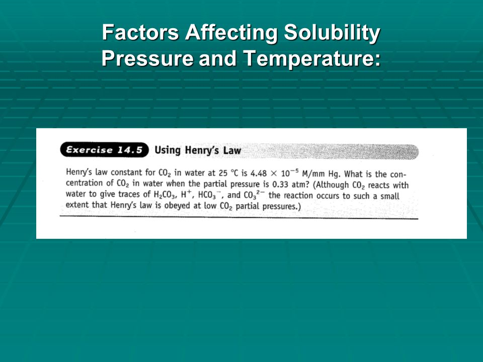 Factors Affecting Solubility Pressure and Temperature:  Solubility Diagrams Solubility Diagrams Solubility Diagrams