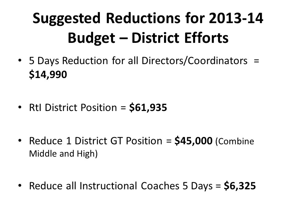 Suggested Reductions for 2013-14 Budget – District Efforts 5 Days Reduction for all Directors/Coordinators = $14,990 RtI District Position = $61,935 Reduce 1 District GT Position = $45,000 (Combine Middle and High) Reduce all Instructional Coaches 5 Days = $6,325