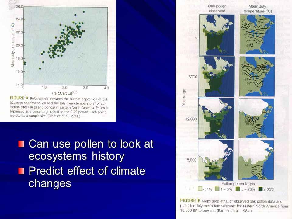 Can use pollen to look at ecosystems history Predict effect of climate changes