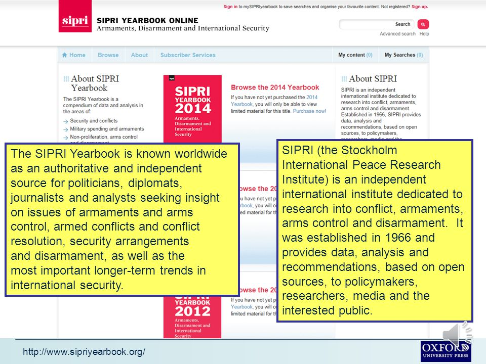 This presentation gives a brief description of the SIPRI Yearbook Online It tells you what the SIPRI Yearbook Online is how it can help you how to look for information in it The presentation will take about 4 minutes