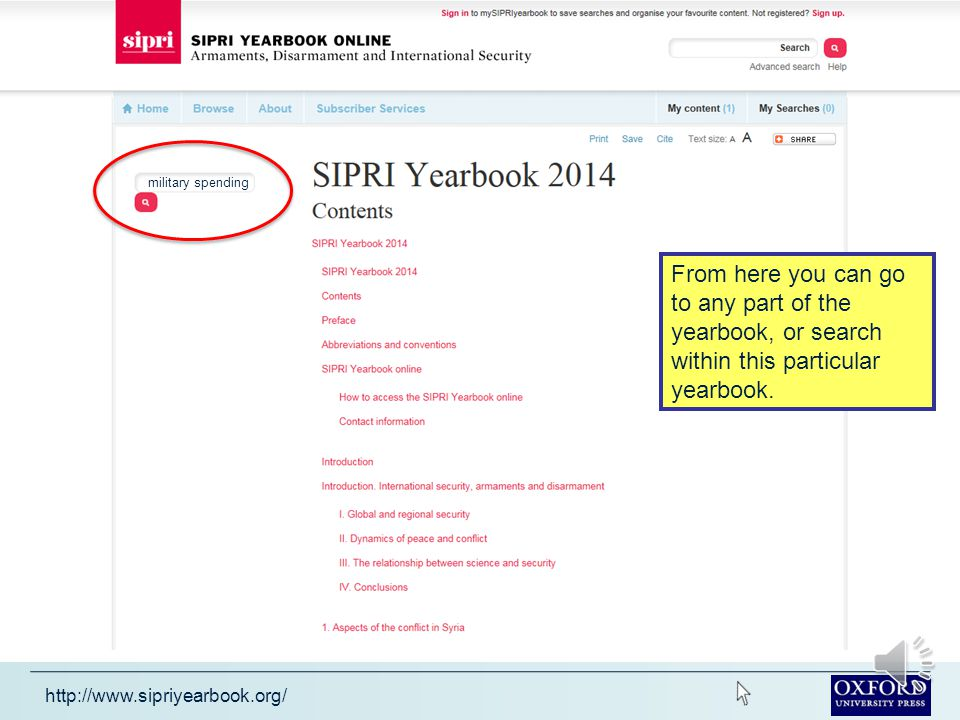 http://www.sipriyearbook.org/ Click on the Browse menu to see the yearbook contents.