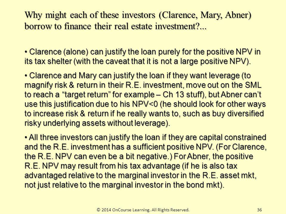 36 Why might each of these investors (Clarence, Mary, Abner) borrow to finance their real estate investment?... Clarence (alone) can justify the loan