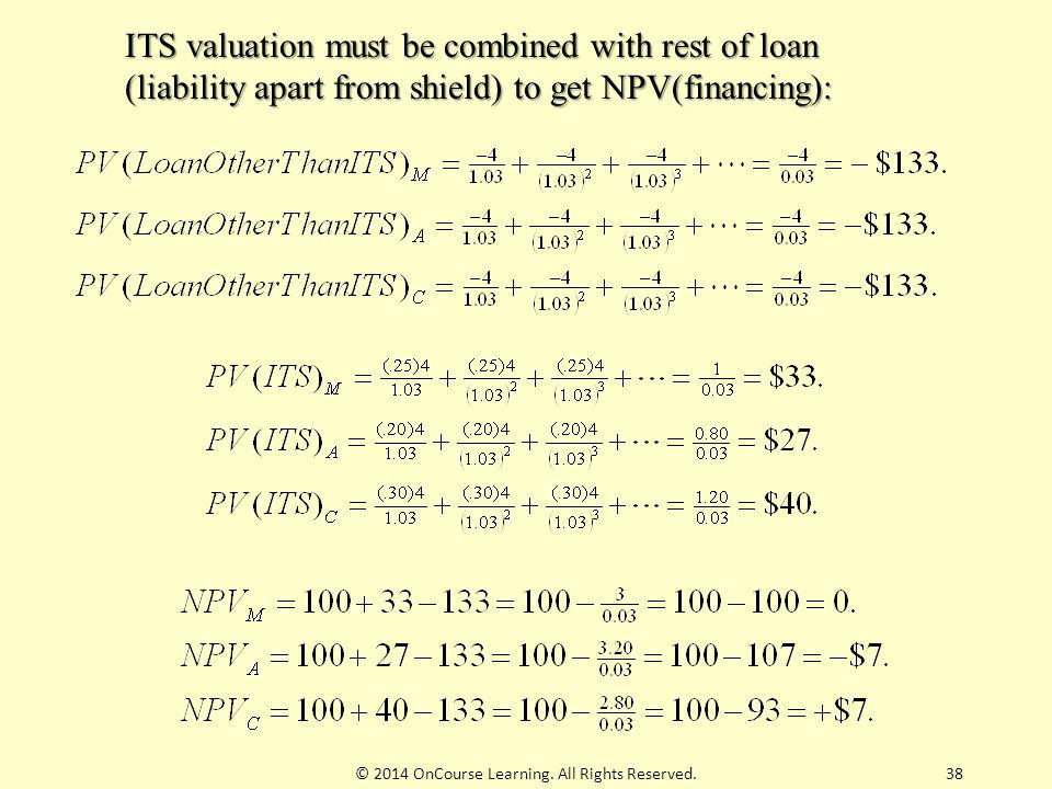 38 ITS valuation must be combined with rest of loan (liability apart from shield) to get NPV(financing): © 2014 OnCourse Learning. All Rights Reserved