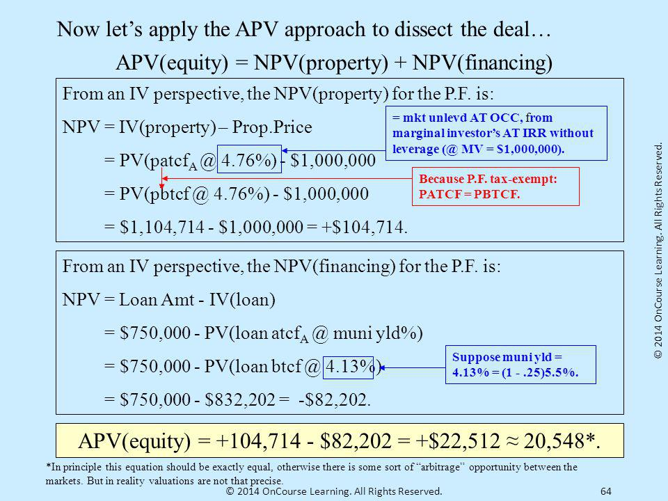 64 Now let's apply the APV approach to dissect the deal… APV(equity) = NPV(property) + NPV(financing) From an IV perspective, the NPV(property) for th