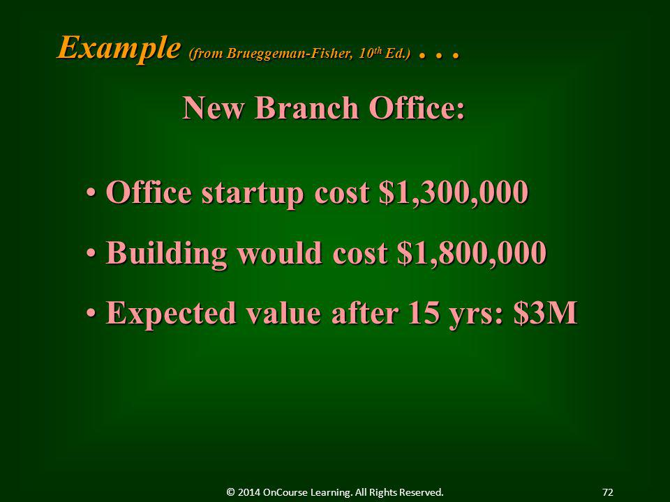 Example (from Brueggeman-Fisher, 10 th Ed.)... New Branch Office: Office startup cost $1,300,000 Office startup cost $1,300,000 Building would cost $1