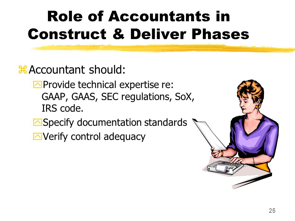 25 Role of Accountants in Construct & Deliver Phases zAccountant should: yProvide technical expertise re: GAAP, GAAS, SEC regulations, SoX, IRS code.