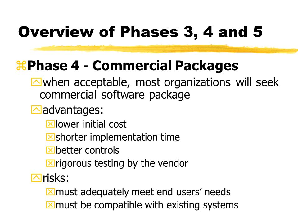 Overview of Phases 3, 4 and 5 zPhase 4 - Commercial Packages ywhen acceptable, most organizations will seek commercial software package yadvantages: x