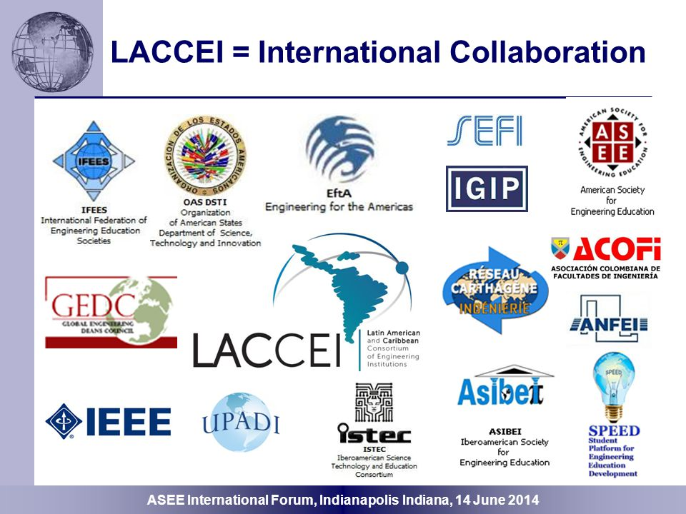 ASEE International Forum, Indianapolis Indiana, 14 June 2014 International Collaboration Need Infrastructure Linkages Critical Mass of Stakeholders Agreement Scale-up, Drill-down