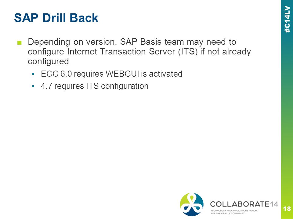 SAP Drill Back 18 ■Depending on version, SAP Basis team may need to configure Internet Transaction Server (ITS) if not already configured ▪ECC 6.0 req