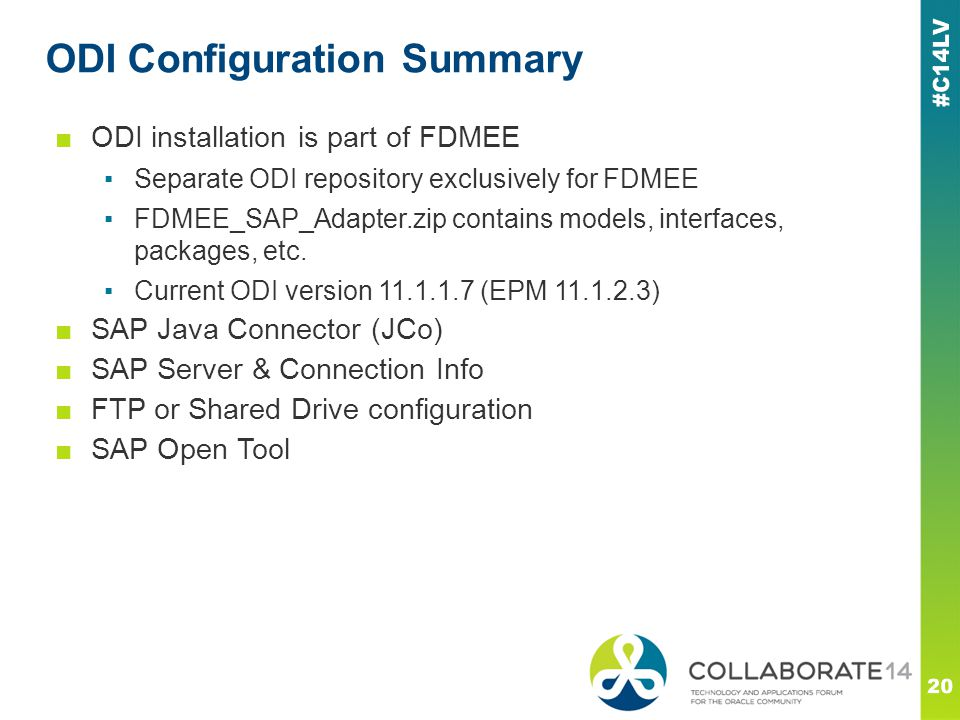 ODI Configuration Summary 20 ■ODI installation is part of FDMEE ▪Separate ODI repository exclusively for FDMEE ▪FDMEE_SAP_Adapter.zip contains models,