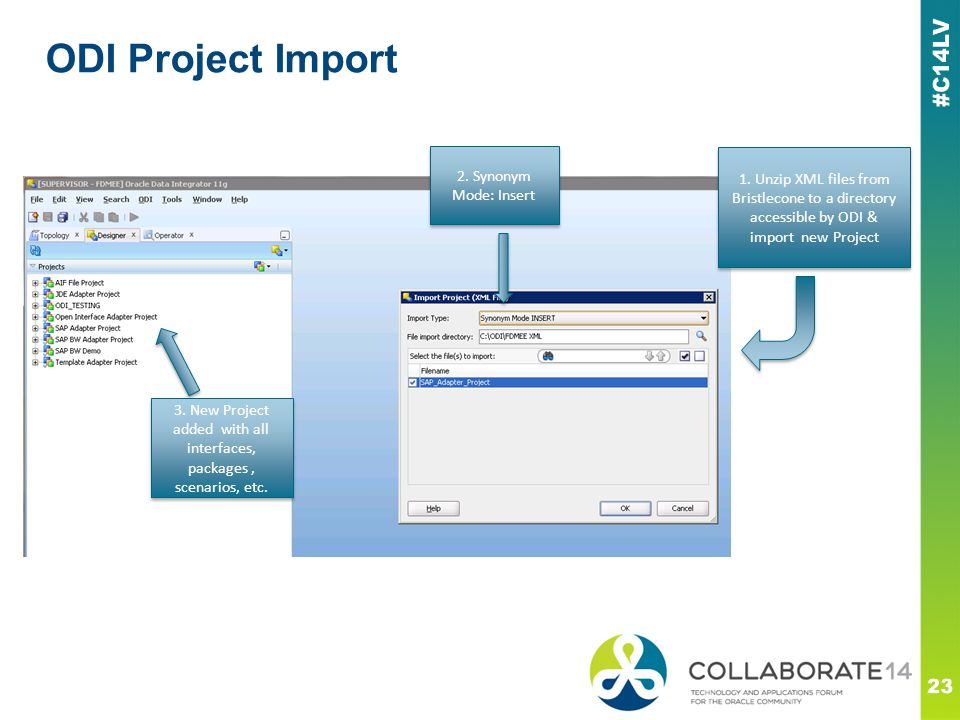 ODI Project Import 23 1. Unzip XML files from Bristlecone to a directory accessible by ODI & import new Project 2. Synonym Mode: Insert 3. New Project