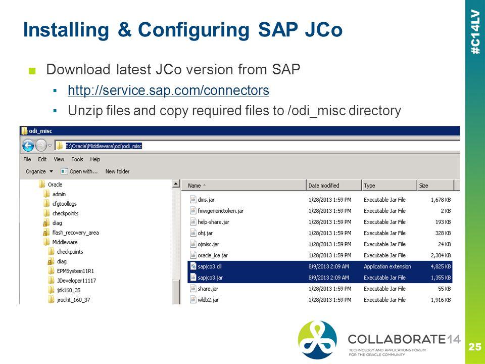 Installing & Configuring SAP JCo 25 ■Download latest JCo version from SAP ▪http://service.sap.com/connectorshttp://service.sap.com/connectors ▪Unzip f