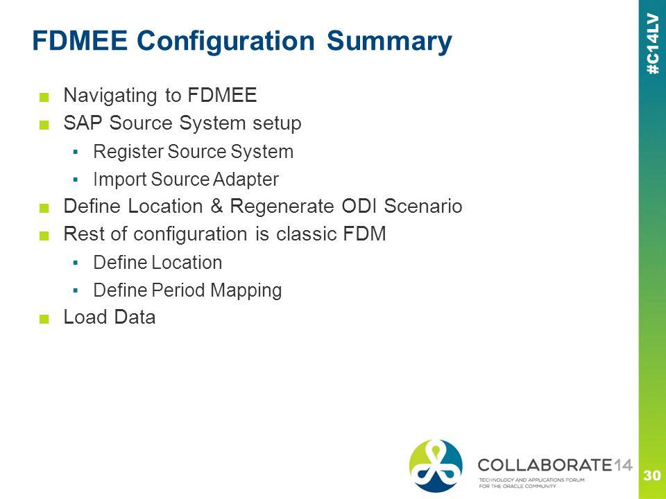 FDMEE Configuration Summary 30 ■Navigating to FDMEE ■SAP Source System setup ▪Register Source System ▪Import Source Adapter ■Define Location & Regener