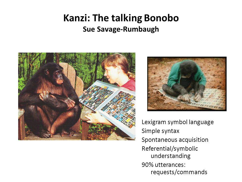 Kanzi: The talking Bonobo Sue Savage-Rumbaugh Lexigram symbol language Simple syntax Spontaneous acquisition Referential/symbolic understanding 90% ut