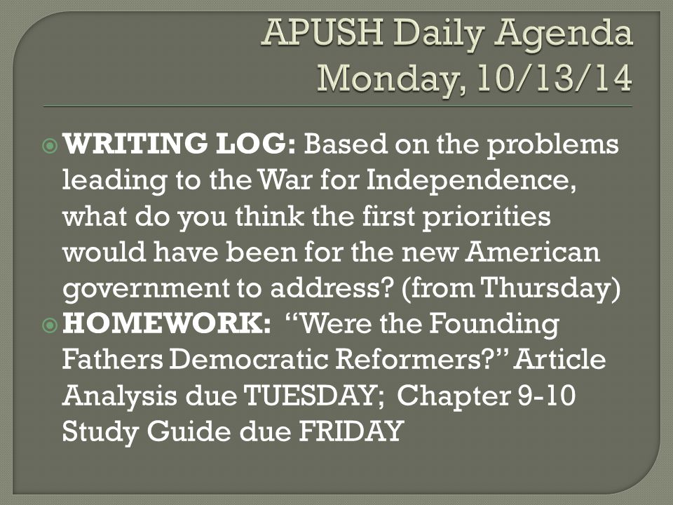 DAILY WARM-UP: Why was compromise so important in the early history of the United States.