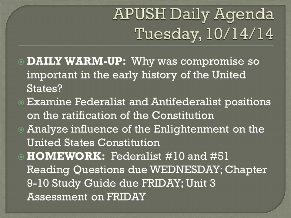 DAILY WARM-UP: Why are the Bill of Rights so important to the United States.