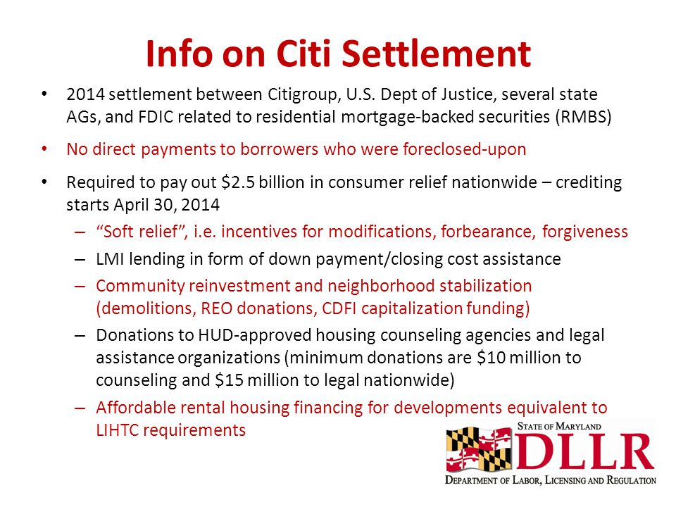 Info on Citi Settlement 2014 settlement between Citigroup, U.S. Dept of Justice, several state AGs, and FDIC related to residential mortgage-backed se