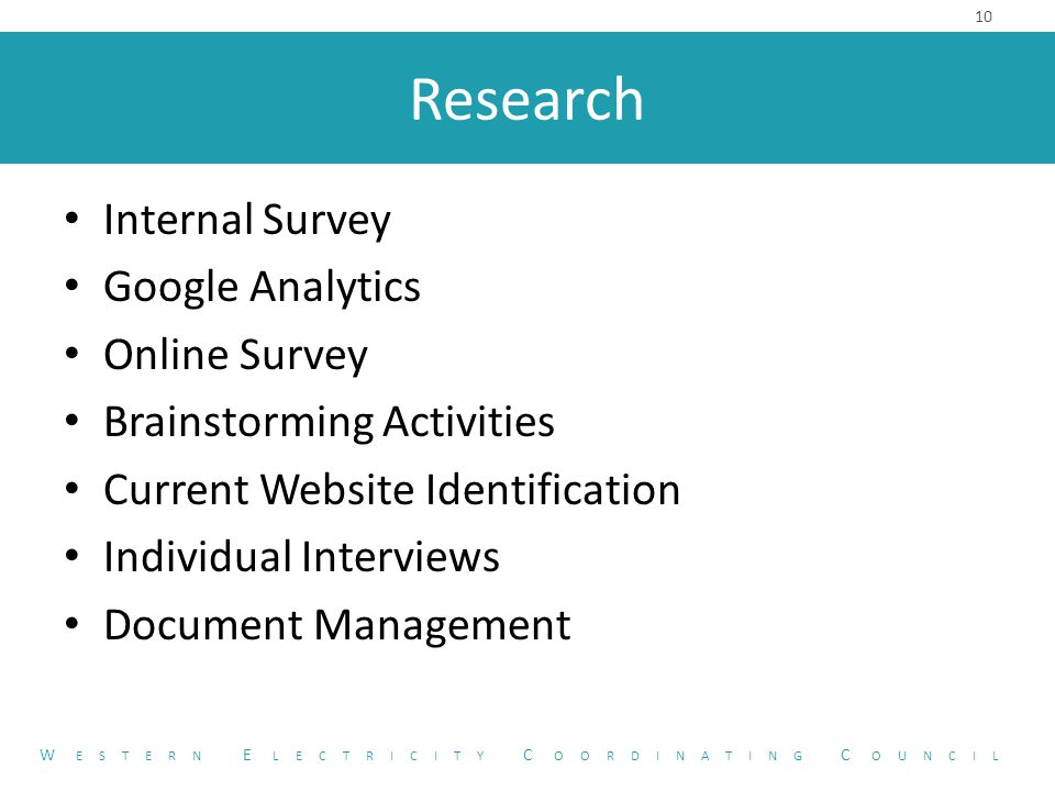 Research Internal Survey Google Analytics Online Survey Brainstorming Activities Current Website Identification Individual Interviews Document Management 10 W ESTERN E LECTRICITY C OORDINATING C OUNCIL