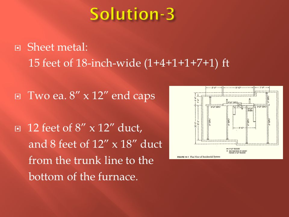 """ Sheet metal: 15 feet of 18-inch-wide (1+4+1+1+7+1) ft  Two ea. 8"""" x 12"""" end caps  12 feet of 8"""" x 12"""" duct, and 8 feet of 12"""" x 18"""" duct from the"""