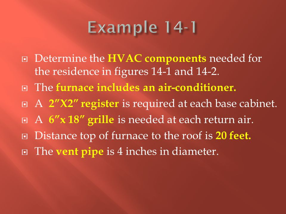 """ Determine the HVAC components needed for the residence in figures 14-1 and 14-2.  The furnace includes an air-conditioner.  A 2""""X2"""" register is re"""