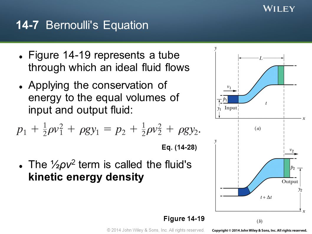 14-7 Bernoulli's Equation Figure 14-19 represents a tube through which an ideal fluid flows Applying the conservation of energy to the equal volumes o