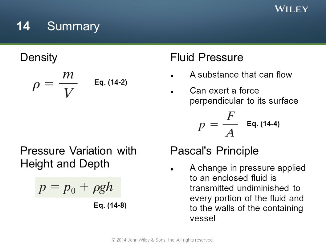 Density Fluid Pressure A substance that can flow Can exert a force perpendicular to its surface 14 Summary Eq. (14-8) Eq. (14-4) Pressure Variation wi
