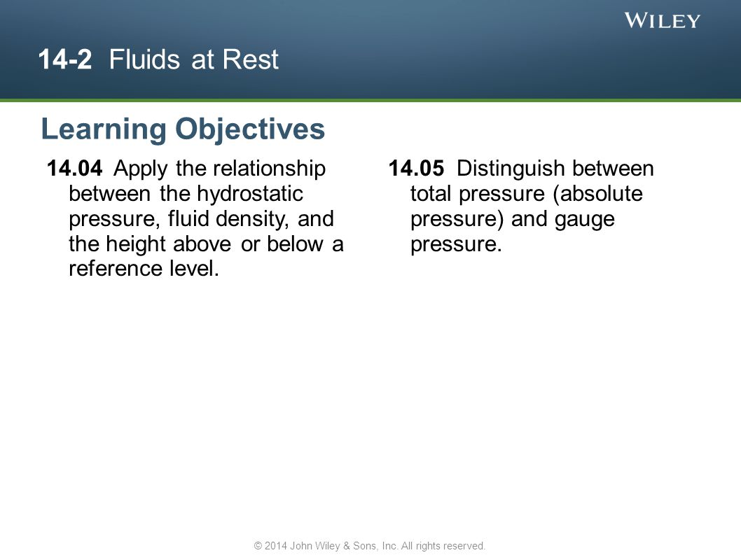 14-2 Fluids at Rest 14.04 Apply the relationship between the hydrostatic pressure, fluid density, and the height above or below a reference level. 14.