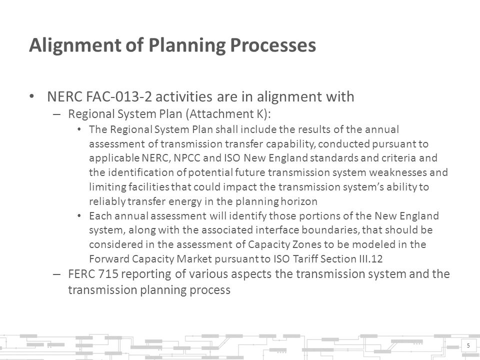 Alignment of Planning Processes NERC FAC-013-2 activities are in alignment with – Regional System Plan (Attachment K): The Regional System Plan shall include the results of the annual assessment of transmission transfer capability, conducted pursuant to applicable NERC, NPCC and ISO New England standards and criteria and the identification of potential future transmission system weaknesses and limiting facilities that could impact the transmission system's ability to reliably transfer energy in the planning horizon Each annual assessment will identify those portions of the New England system, along with the associated interface boundaries, that should be considered in the assessment of Capacity Zones to be modeled in the Forward Capacity Market pursuant to ISO Tariff Section III.12 – FERC 715 reporting of various aspects the transmission system and the transmission planning process 5