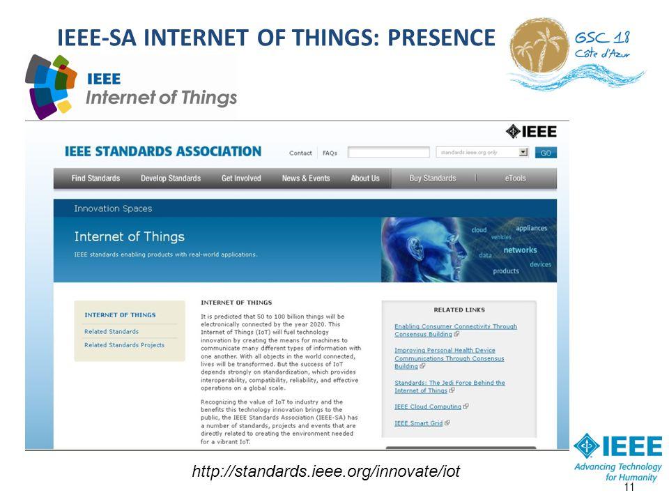 IEEE-SA INTERNET OF THINGS: PRESENCE 11 http://standards.ieee.org/innovate/iot