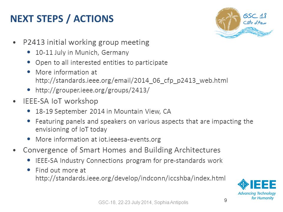 GSC-18, 22-23 July 2014, Sophia Antipolis Supplementary Slides 10