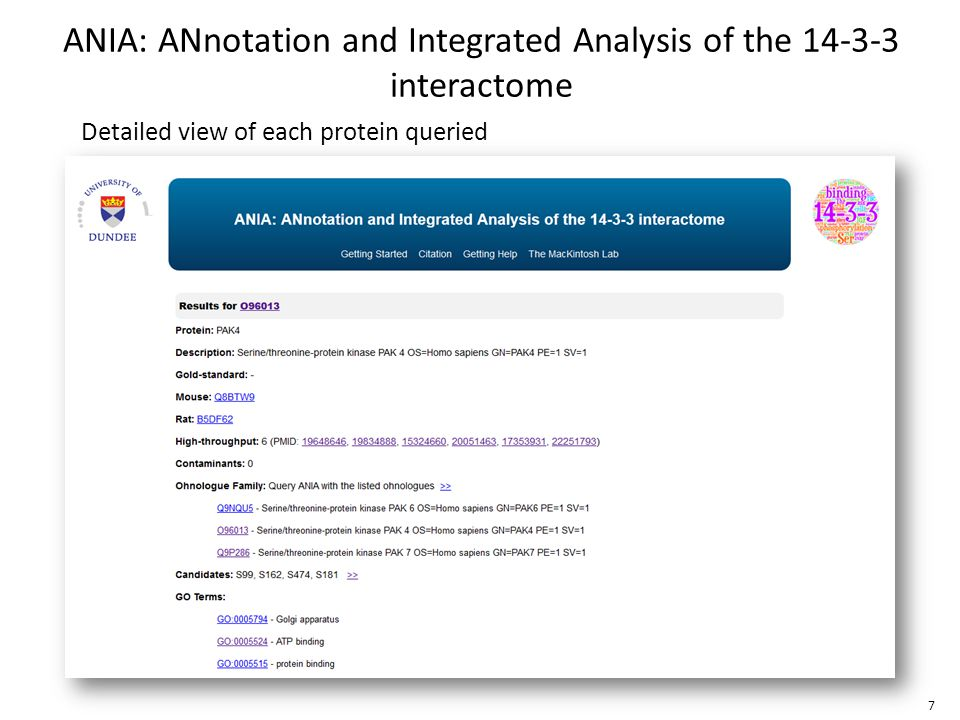 Detailed view of each protein queried ANIA: ANnotation and Integrated Analysis of the 14-3-3 interactome 7