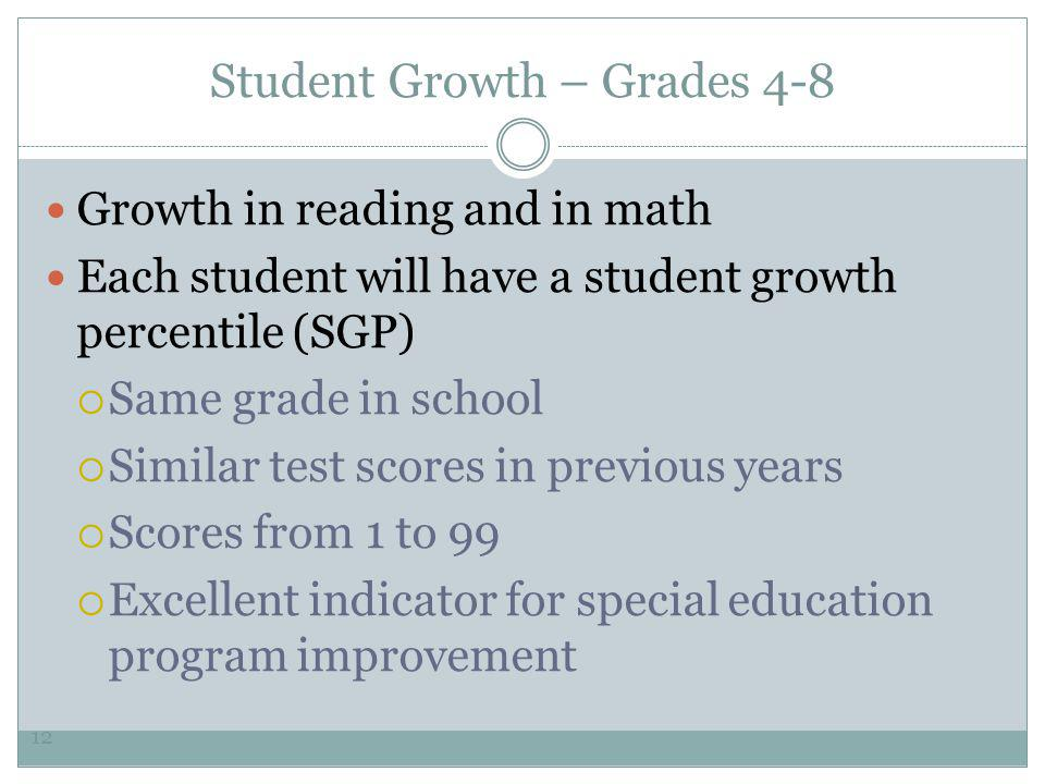 Student Growth – Grades 4-8 Growth in reading and in math Each student will have a student growth percentile (SGP)  Same grade in school  Similar test scores in previous years  Scores from 1 to 99  Excellent indicator for special education program improvement 12