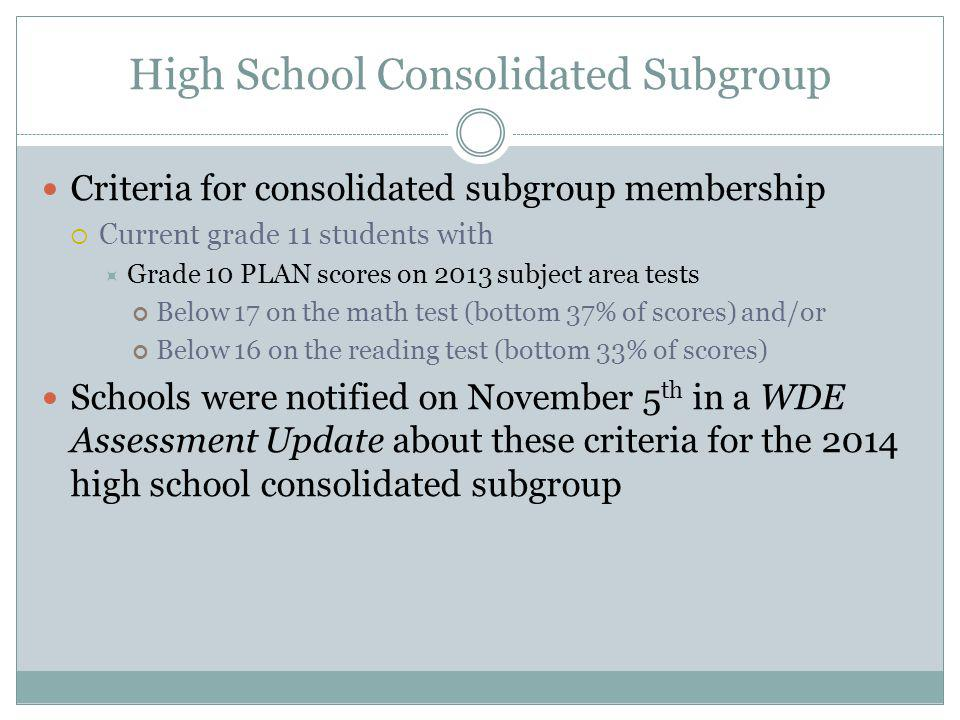 High School Consolidated Subgroup Criteria for consolidated subgroup membership  Current grade 11 students with  Grade 10 PLAN scores on 2013 subject area tests Below 17 on the math test (bottom 37% of scores) and/or Below 16 on the reading test (bottom 33% of scores) Schools were notified on November 5 th in a WDE Assessment Update about these criteria for the 2014 high school consolidated subgroup