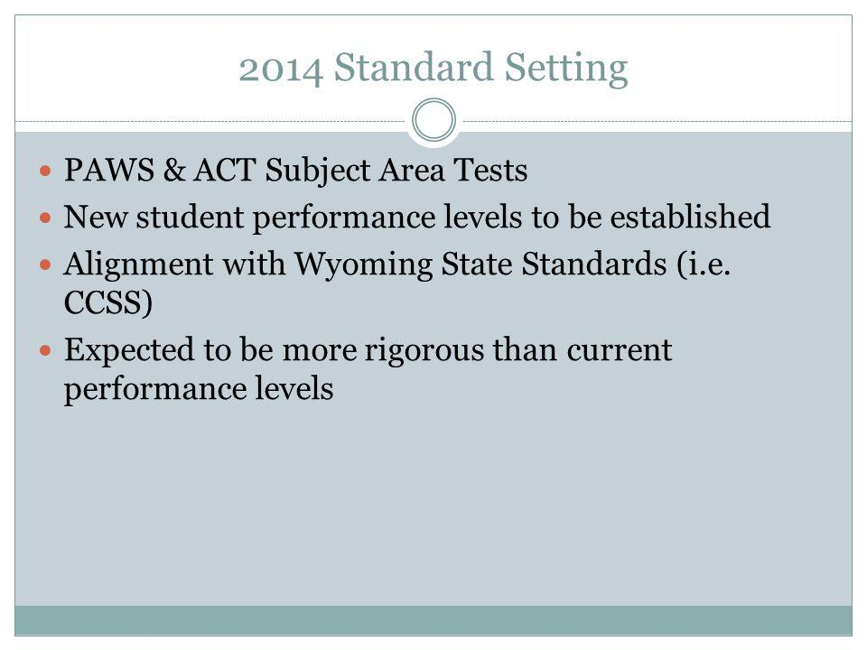 2014 Standard Setting PAWS & ACT Subject Area Tests New student performance levels to be established Alignment with Wyoming State Standards (i.e.