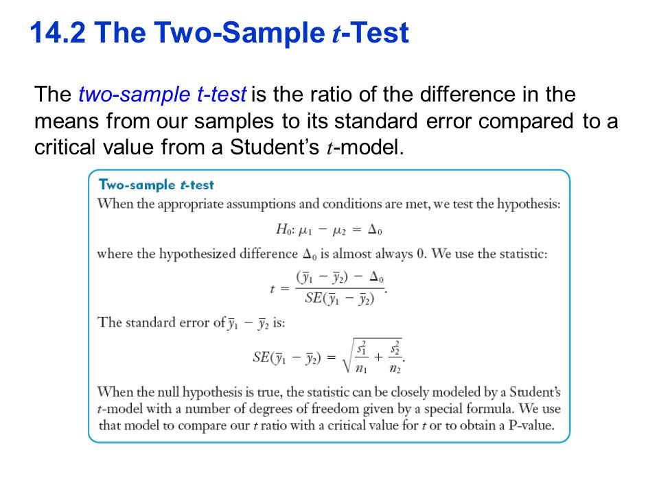 14.2 The Two-Sample t -Test The two-sample t-test is the ratio of the difference in the means from our samples to its standard error compared to a cri