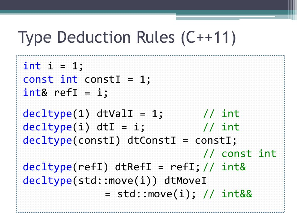 Type Deduction Rules (C++11) int i = 1; const int constI = 1; int& refI = i; decltype(1) dtValI = 1; // int decltype(i) dtI = i; // int decltype(constI) dtConstI = constI; // const int decltype(refI) dtRefI = refI;// int& decltype(std::move(i)) dtMoveI = std::move(i);// int&&