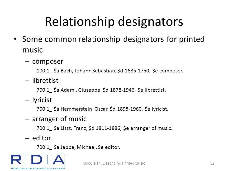 Relationship designators Some common relationship designators for printed music – composer 100 1_ $a Bach, Johann Sebastian, $d 1685-1750, $e composer.