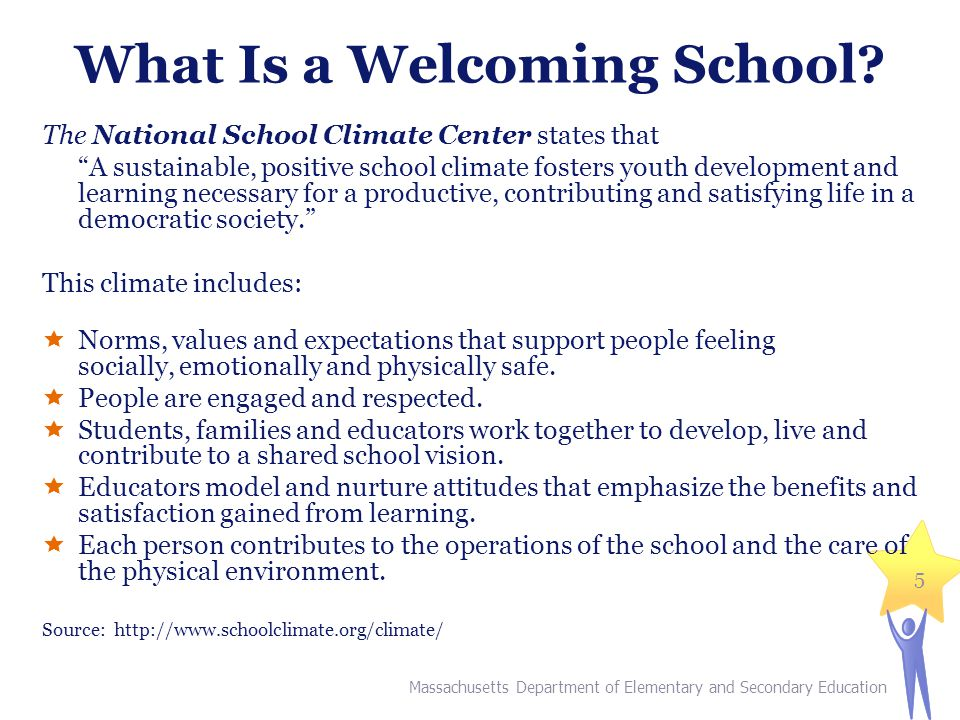 """What Is a Welcoming School? The National School Climate Center states that """"A sustainable, positive school climate fosters youth development and learn"""