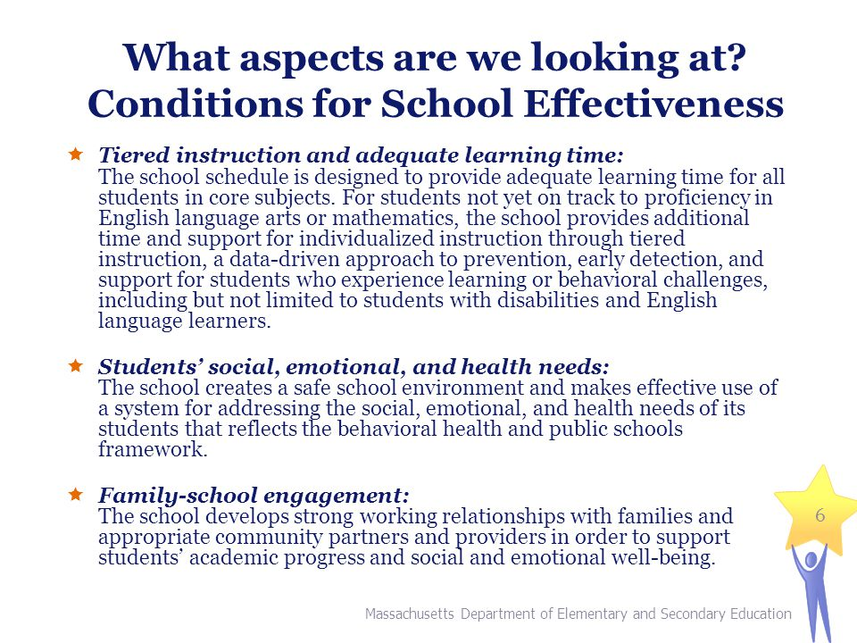What aspects are we looking at? Conditions for School Effectiveness  Tiered instruction and adequate learning time: The school schedule is designed t