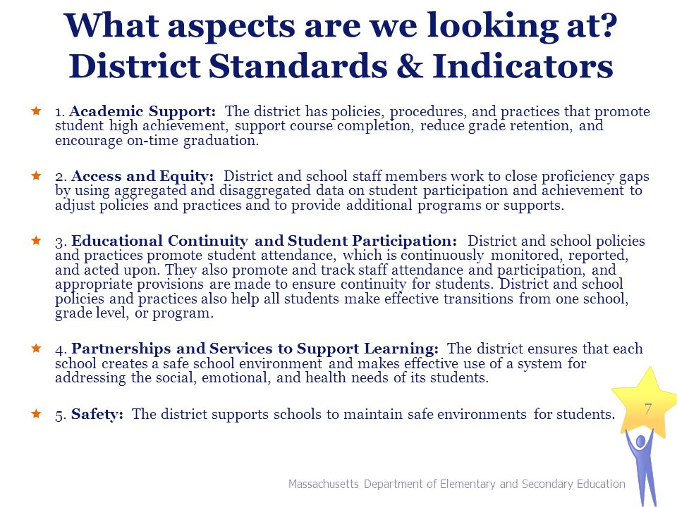 What aspects are we looking at. District Standards & Indicators  1.