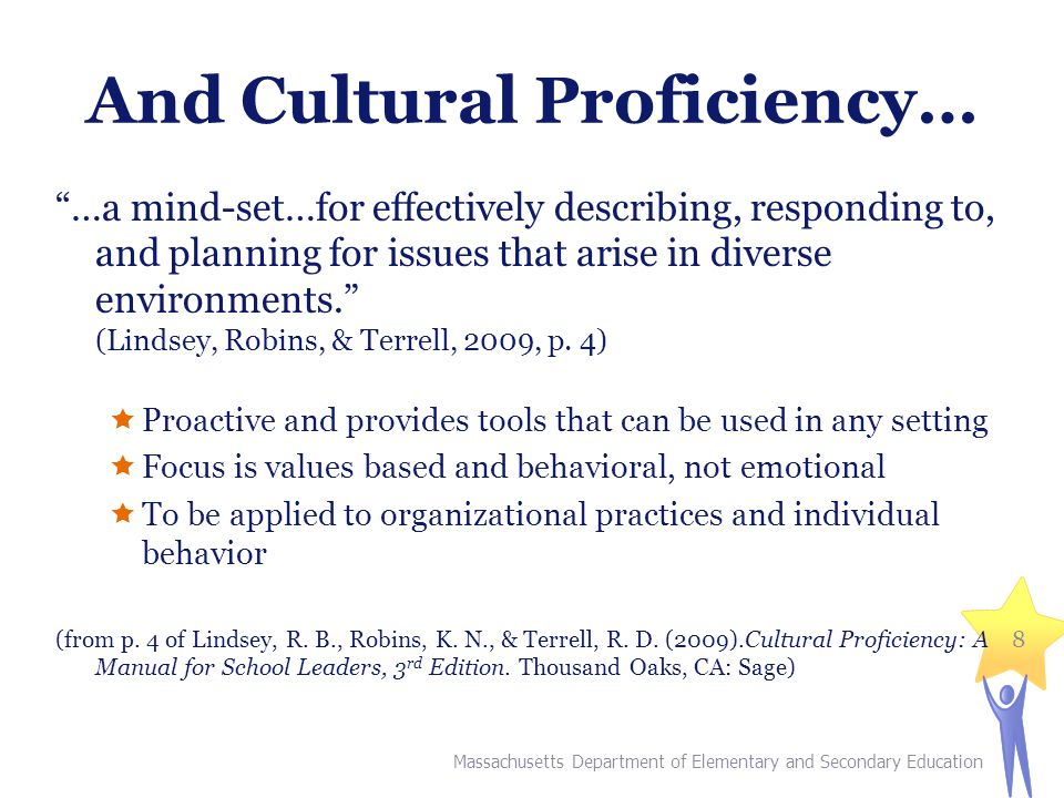 And Cultural Proficiency… …a mind-set…for effectively describing, responding to, and planning for issues that arise in diverse environments. (Lindsey, Robins, & Terrell, 2009, p.