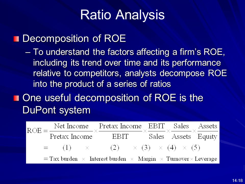 14-18 Ratio Analysis Decomposition of ROE –To understand the factors affecting a firm's ROE, including its trend over time and its performance relativ