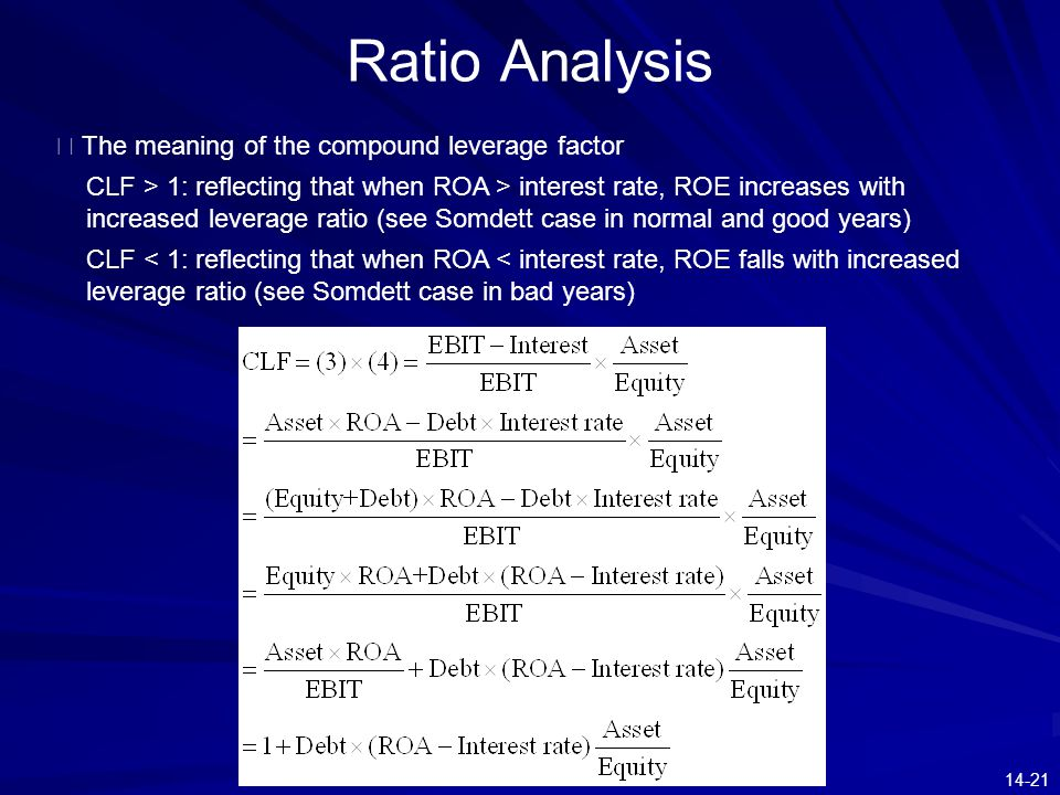 14-21 Ratio Analysis ※ The meaning of the compound leverage factor CLF > 1: reflecting that when ROA > interest rate, ROE increases with increased lev